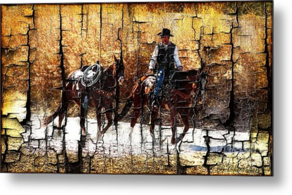 Rio Cowboy With Horses  Metal Print