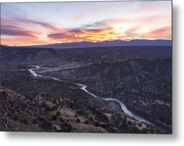 Rio Grande River Sunrise - White Rock New Mexico Metal Print