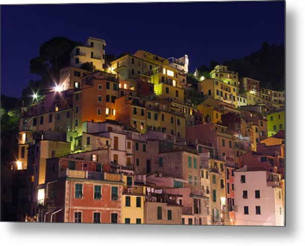 Riomaggiore Buildings At Night Metal Print by Ioan Panaite
