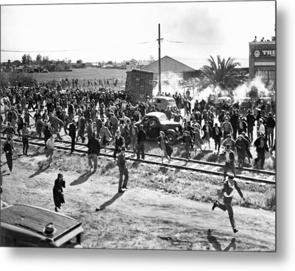 Riots At Cannery Strike Metal Print