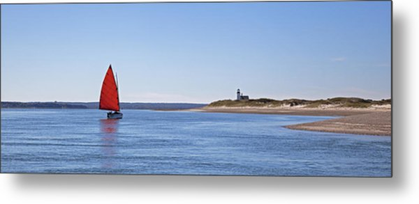 Ripple Catboat With Red Sail And Lighthouse Metal Print