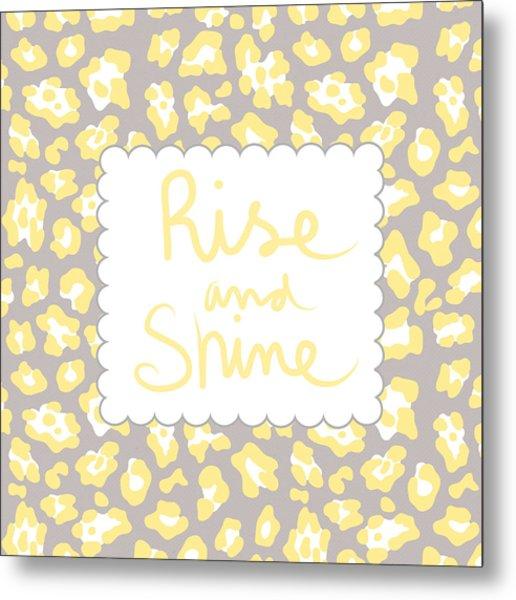 Rise And Shine- Yellow And Grey Metal Print