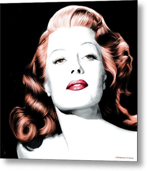 Rita Hayworth Large Size Portrait Metal Print