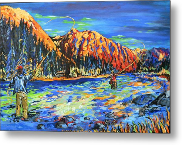 River Fisherman Metal Print