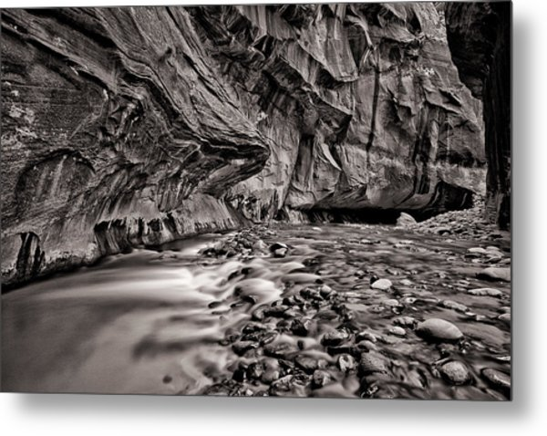 River Flow Bw Metal Print by Juan Carlos Diaz Parra