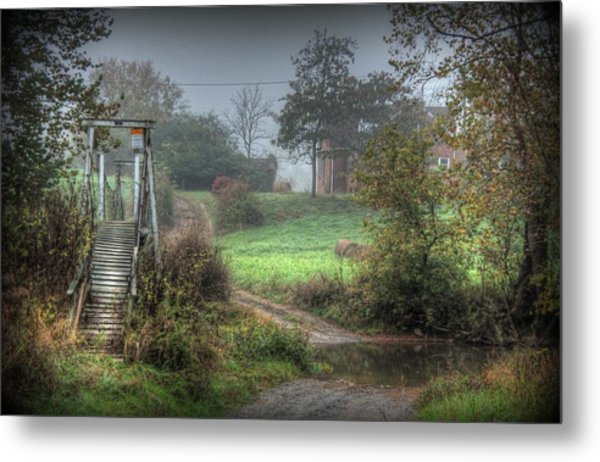 River Ford With Foot-bridge Metal Print by Heavens View Photography