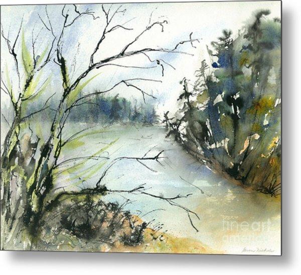 River In Autumn Metal Print by Gwen Nichols
