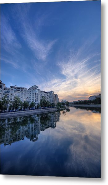 River In City At Sunset Metal Print by Ioan Panaite