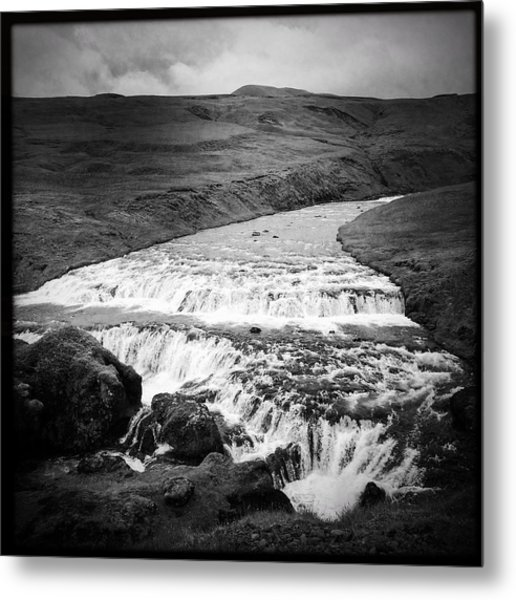 River In Iceland Black And White Metal Print