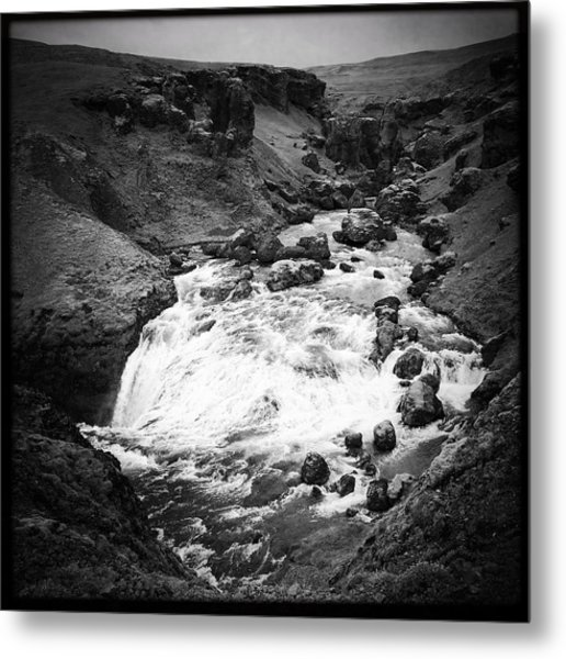 River Landscape Iceland Black And White Metal Print