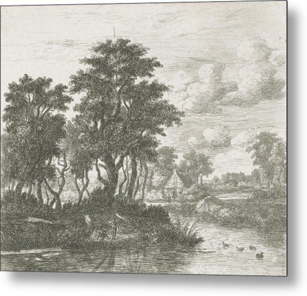 River Landscape With An Angler, Hermanus Jan Hendrik Van Metal Print by Hermanus Jan Hendrik Van Rijkelijkhuysen And Meindert Hobbema