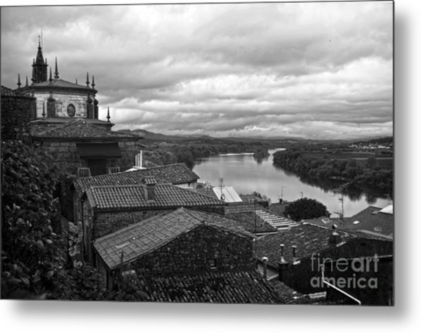 River Mino And Portugal From Tui Bw Metal Print