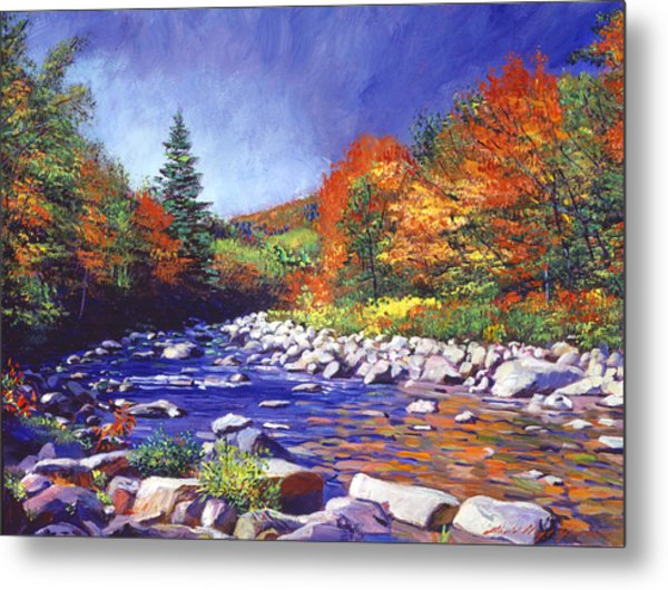 River Of Autumn Colors Metal Print by David Lloyd Glover
