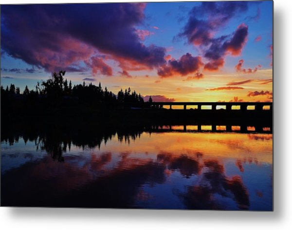 River Reflection Sunset Metal Print