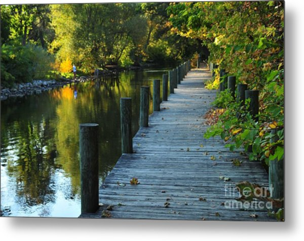 River Walk In Traverse City Michigan Metal Print