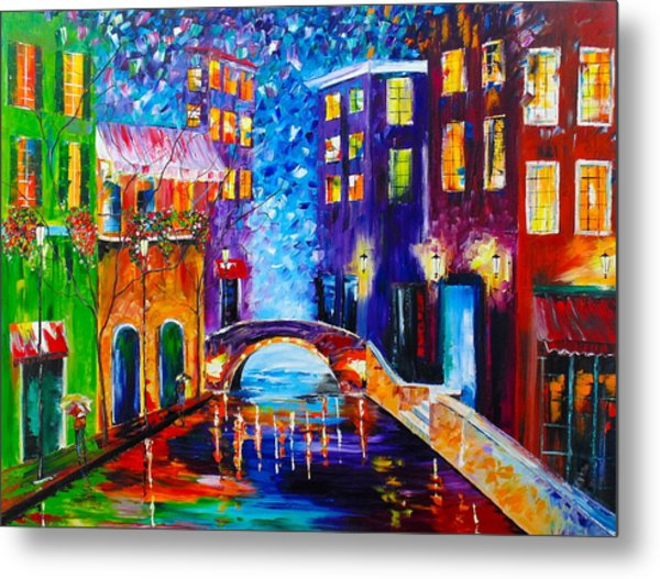 Metal Print featuring the painting River Walk by Kevin  Brown