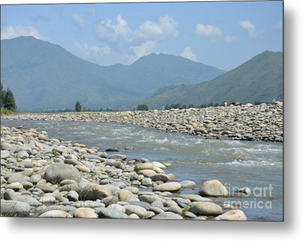 Riverbank Water Rocks Mountains And A Horseman Swat Valley Pakistan Metal Print