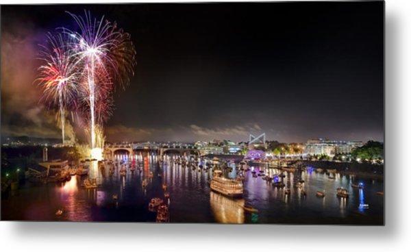 Riverbend Fireworks Metal Print