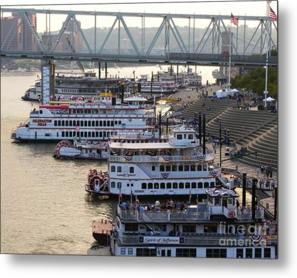 Metal Print featuring the photograph Riverboat Row by Mel Steinhauer