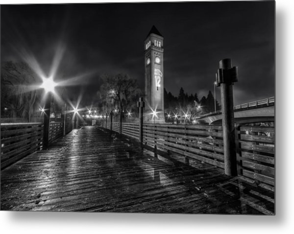 Riverfront Park Clocktower Seahawks Black And White Metal Print