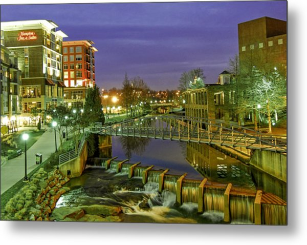 Riverplace And Art Crossing At Sunset In Downtown Greenville Sc Metal Print