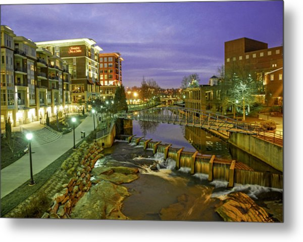 Riverplace In Downtown Greenville Sc At Twilight Metal Print