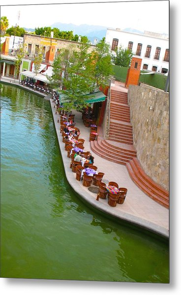 Riverside Cafe Metal Print