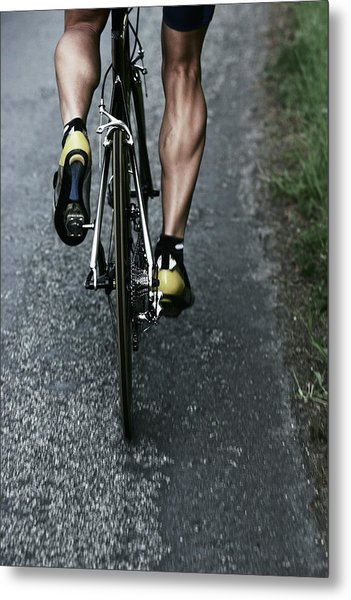Road Bike Rider Metal Print by Gibsonpictures