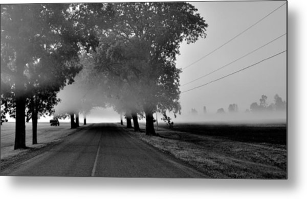 Road Into Morning Mist - Canada Metal Print
