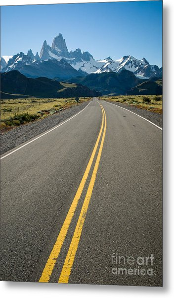 Road Leading To Fitz Roy In Patagonia Metal Print by OUAP Photography