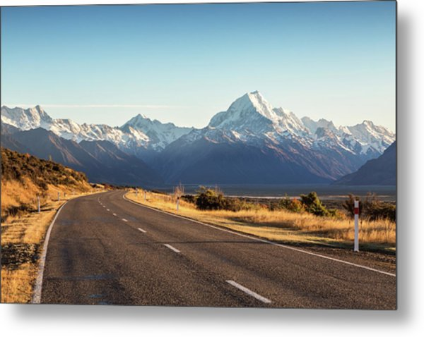 Road Leading To Mt Cook Mountain, New Metal Print by Matteo Colombo
