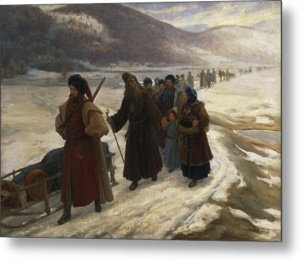 Road To Siberia Oil On Canvas Metal Print