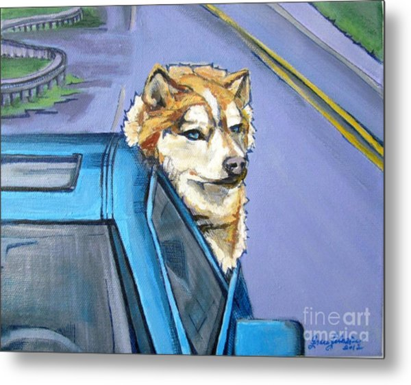 Road-trip - Dog Metal Print