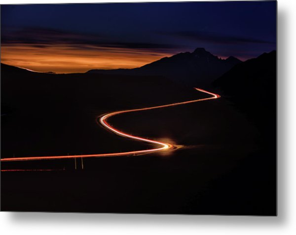Road With Headlights And Taillights Metal Print