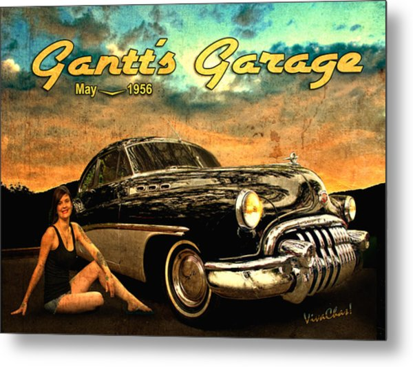 Roadmaster Betty And The Big Black Buick Metal Print