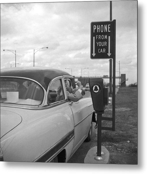 Roadside Public Telephone Metal Print