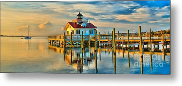 Roanoke Marsh Lighthouse Dawn Metal Print