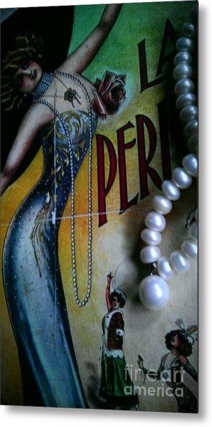Roaring Twenties Elegance And Pearls Metal Print