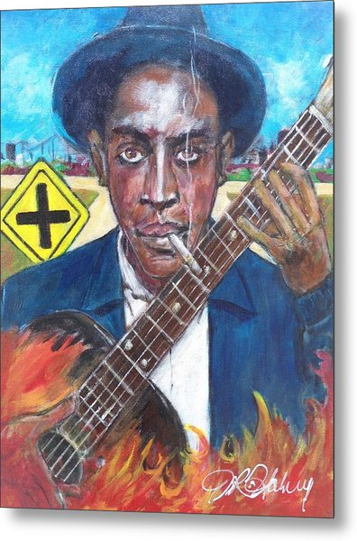 Robert Johnson At The Crossroads Metal Print by Aaron Harvey