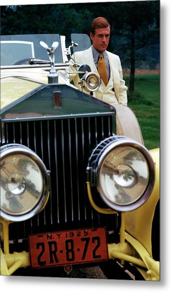 Robert Redford By A Rolls-royce Metal Print