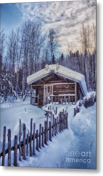 Robert Service Cabin Winter Idyll Metal Print