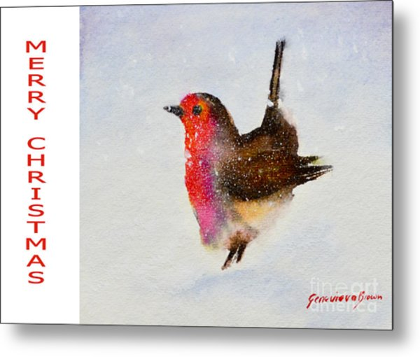 Robin Christmas Card Metal Print