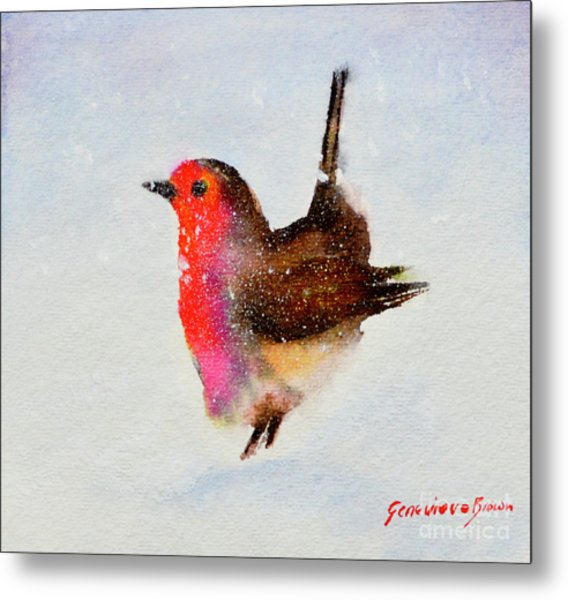 Metal Print featuring the painting Robin Redbreast by Genevieve Brown