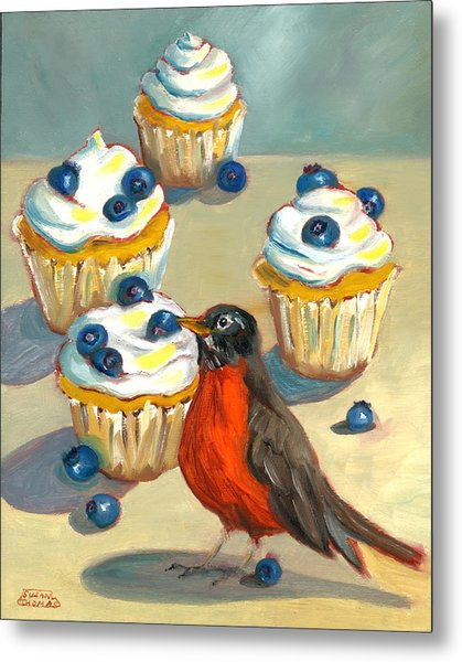Robin With Blueberry Cupcakes Metal Print