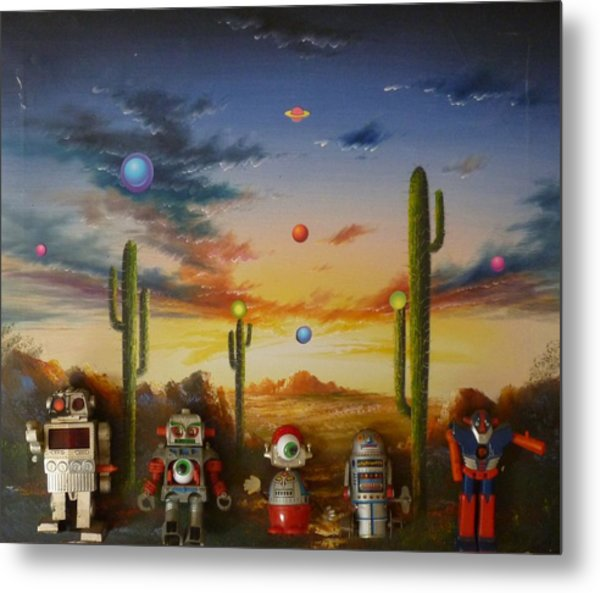Robot Party  Metal Print