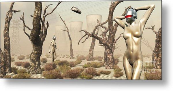 Robots Walking About A Landscape Metal Print