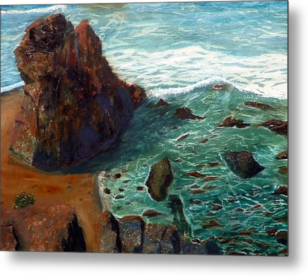 Rock Beach And Sea Metal Print
