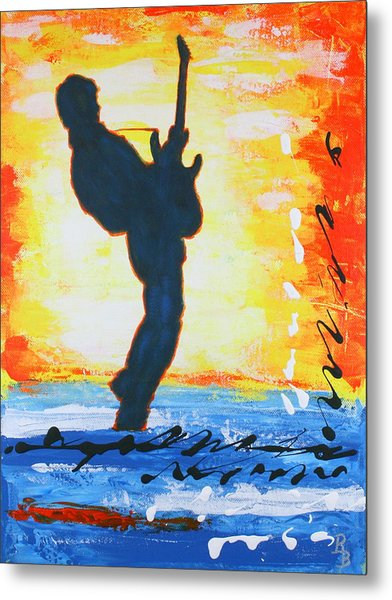 Rock Guitar Abstract Painting Metal Print