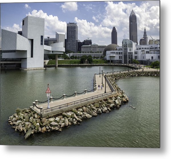 Rock Hall Of Fame On Lake Erie Metal Print