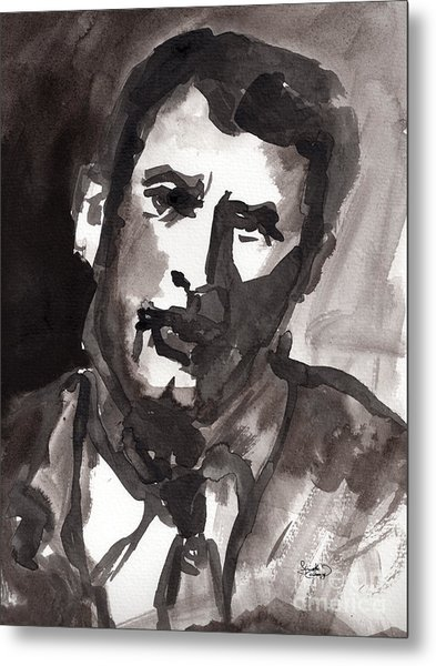Rock Hudson Watercolor Sketch Metal Print by Ginette Callaway